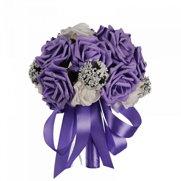 Two Colors Silk Flowers Wedding Bouquet with Ribbon_4