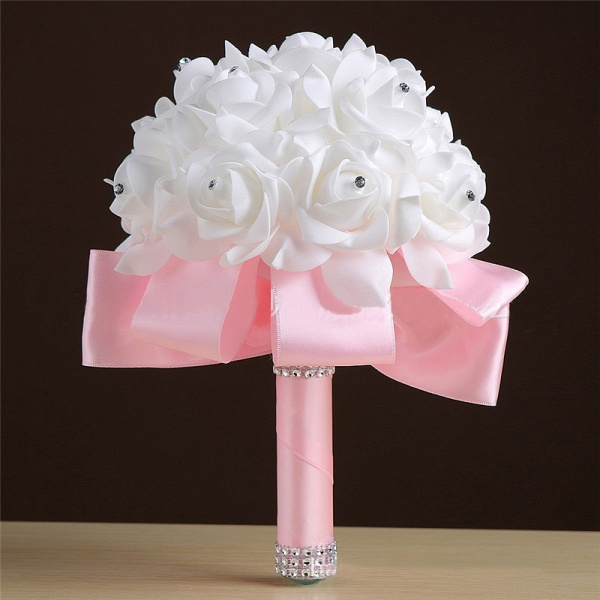 White Silk Rose Crystal Beading Bouquet in Colorful Handles_3