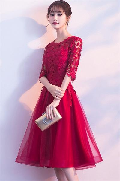 MARGARET   A-line Half sleeves Short Burgundy Appliques Tulle Homecoming Dresses_7