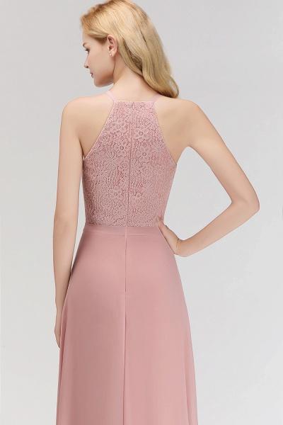 MARIANNA | A-line Sleeveless Halter Long Lace Chiffon Bridesmaid Dresses_11