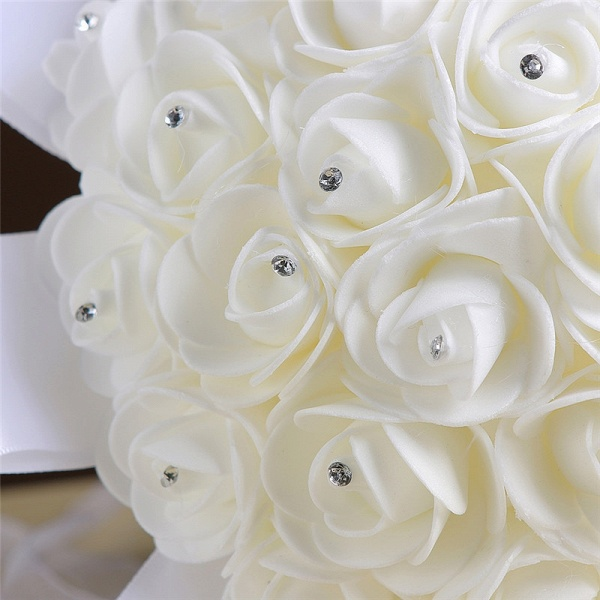 Ivory Silk Rose wedding Bouquet with Beads_4