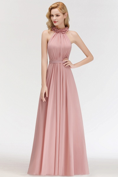A-line Chiffon Halter Sleeveless Ruffled Floor Length Bridesmaid Dresses_55