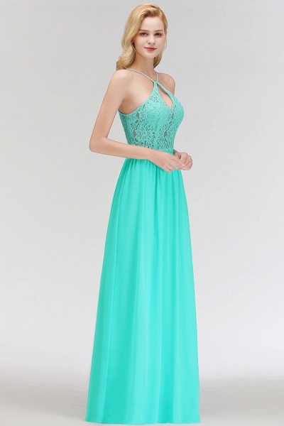 Keyhole Neckline Lace A-line Long Spaghetti Bridesmaid Dress_6