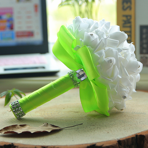White Silk Wedding Bouquet with Colorful Handles_11