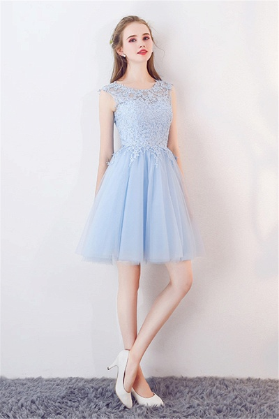 MARCIA | A-line Sleeveless Short Appliqued Top Tulle Homecoming Dresses_4