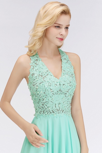 BM0064 V-Neck Short Lace A-Line Sleeveless Bridesmaid Dress_6