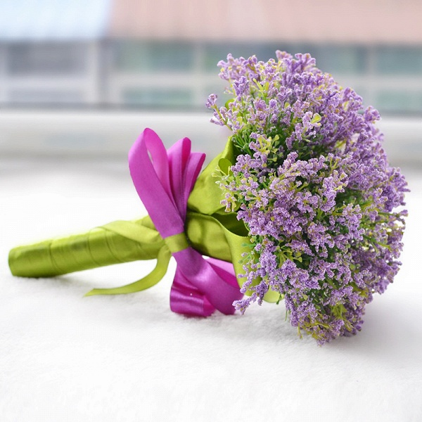 Elegant Real Touch Artificial Lavender Wedding Bouquet_3