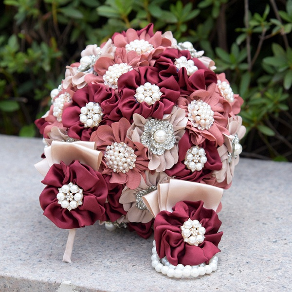Silk Rose Pearls Wedding Bouquet in Three Tune Colors_9