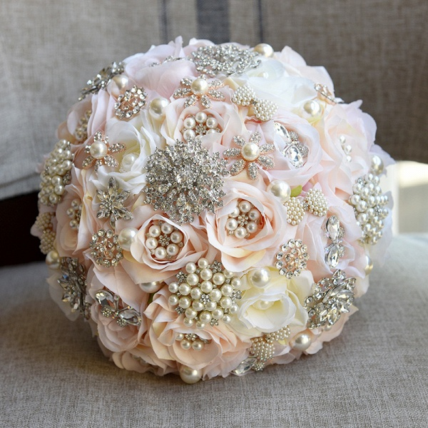 Shiny Crystal Beading Silk Rose Wedding Bouquet in White and Pink_4