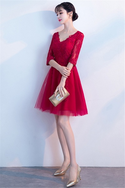 MARGE | A-line V-neck Half Sleeves Tulle Appliques Homecoming Dresses_6