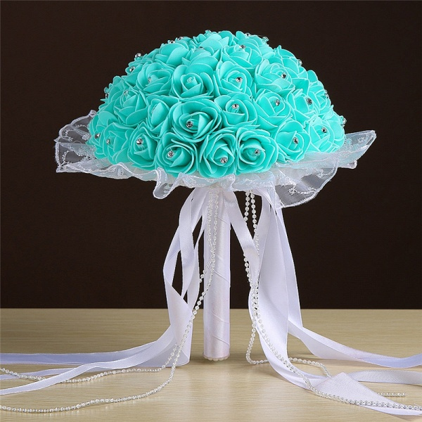 Grand Silky Rose Bouquet for Wedding in Multiple Colors_6