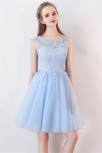 MARCIA | A-line Sleeveless Short Appliqued Top Tulle Homecoming Dresses_8