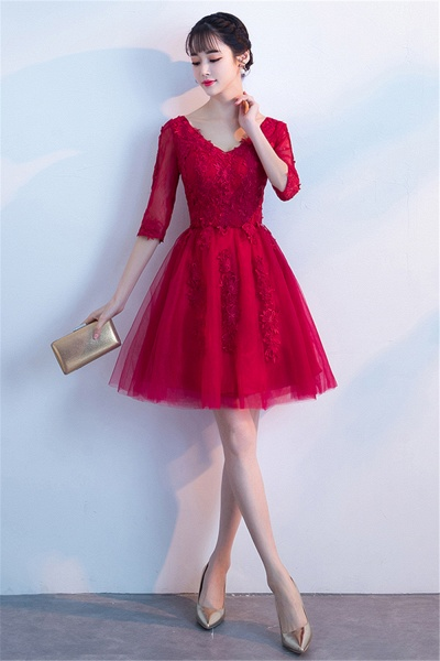 MARGE | A-line V-neck Half Sleeves Tulle Appliques Homecoming Dresses_5