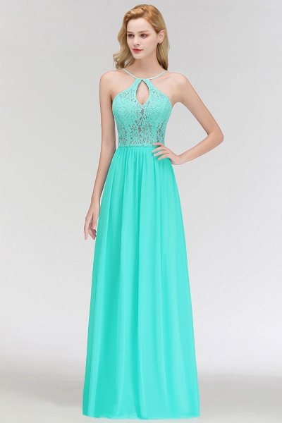 Keyhole Neckline Lace A-line Long Spaghetti Bridesmaid Dress_9