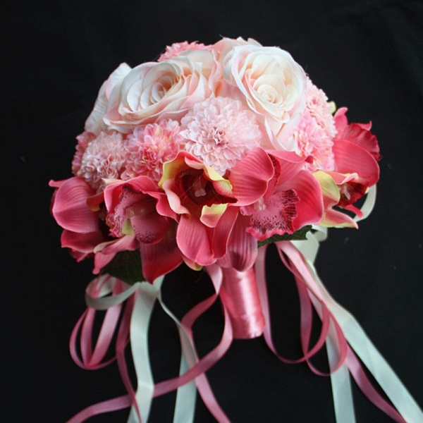 Silk Rose Artificial Orchid and Marigold Wedding Bouquet_2
