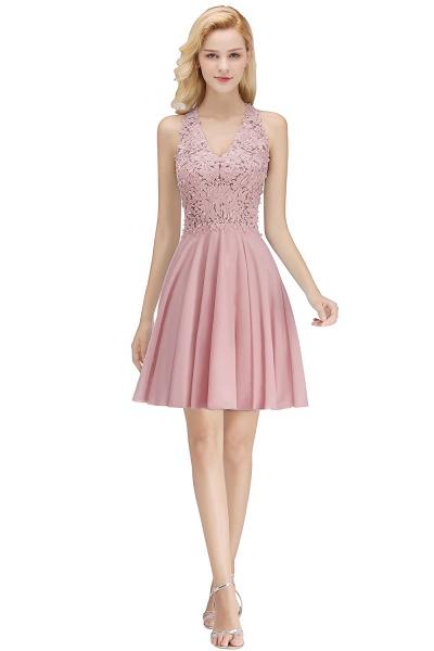 A-line V-neck Sleeveless Appliques Chiffon Short Homecoming Dresses_1