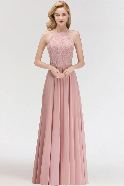 MARIANNA | A-line Sleeveless Halter Long Lace Chiffon Bridesmaid Dresses_6
