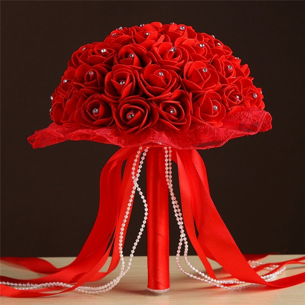 Grand Silky Rose Bouquet for Wedding in Multiple Colors_5