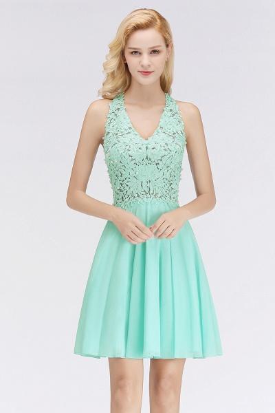 BM0064 V-Neck Short Lace A-Line Sleeveless Bridesmaid Dress_1