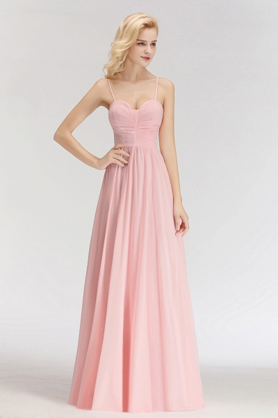Spaghetti Straps A-line Long Sweetheart Sleeveless Bridesmaid Dresses_7