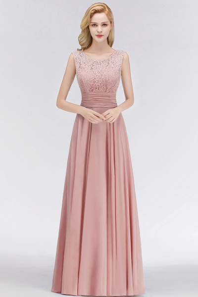 A-line Lace Top Floor Length Sleeveless Chiffon Bridesmaid Dress_1