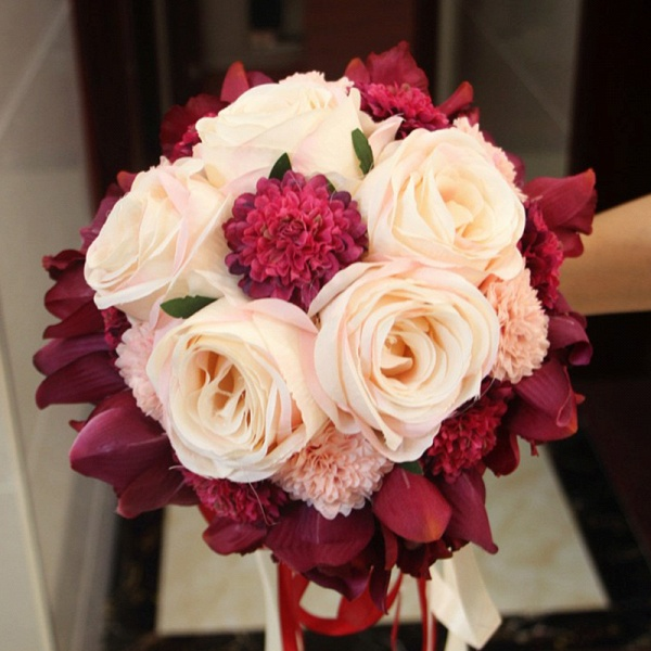 Silk Rose Artificial Orchid and Marigold Wedding Bouquet_8