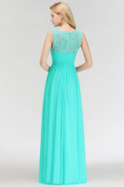 A-line Sleevless Long Lace Appliques Bridesmaid Dress_3