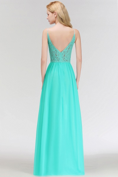 Keyhole Neckline Lace A-line Long Spaghetti Bridesmaid Dress_5