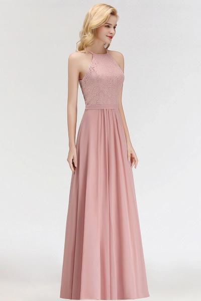MARIANNA | A-line Sleeveless Halter Long Lace Chiffon Bridesmaid Dresses_8