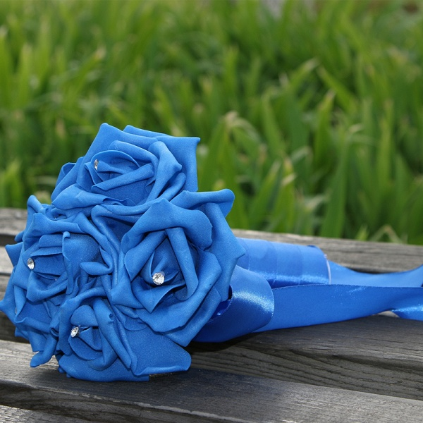 Simple Silk Rose wedding Bouquet in Multiple Colors_12