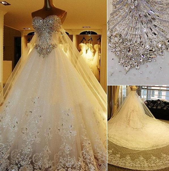 A Line Sweetheart Appliques Crystal Beading Elegant Wedding Dress_3