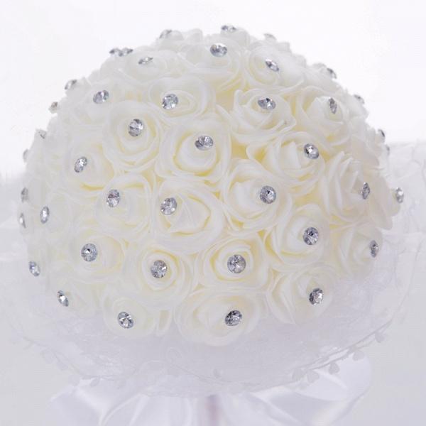 Elegant Pure White Beading Wedding Bouquet with Lace Ribbon_4