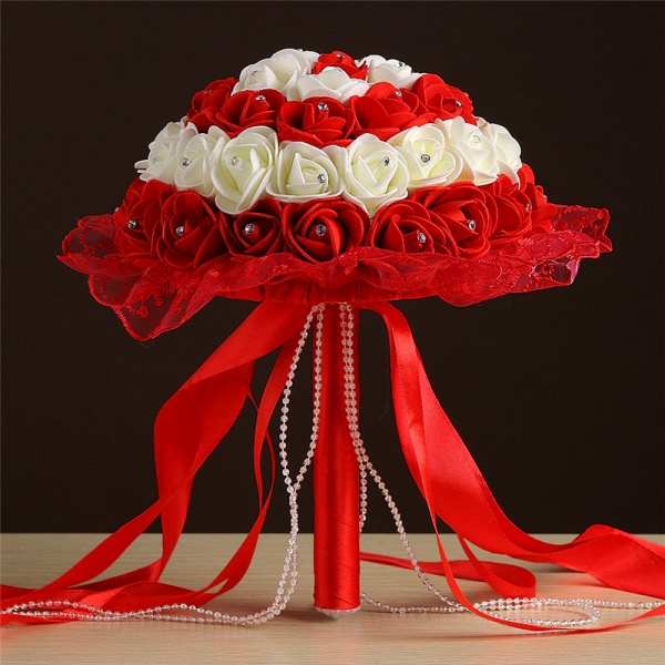 Grand Silky Rose Bouquet for Wedding in Multiple Colors_4