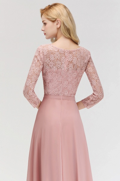 MARIAN | A-line Floor Length Lace Chiffon Bridesmaid Dresses with Sleeves_9