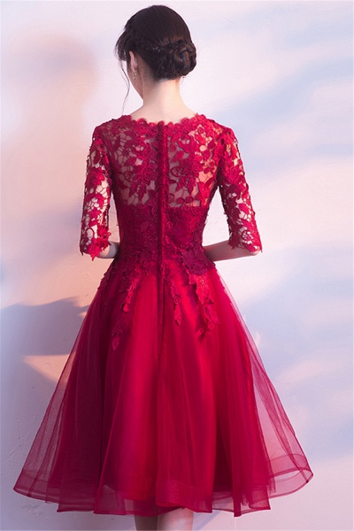 MARGARET   A-line Half sleeves Short Burgundy Appliques Tulle Homecoming Dresses_3