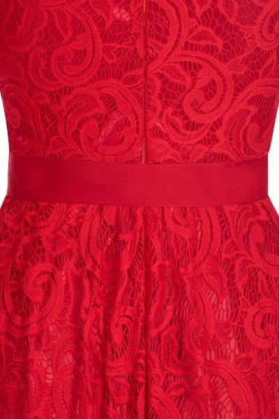Elegant V-neck Short Sleeves Lace Dresses with Bow Sash_11