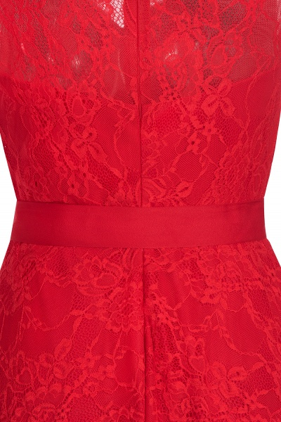 A-line Sleeveless Burgundy Lace Dresses with Bow_9