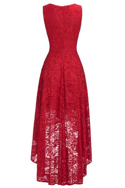 A-line V-neck Sleeveless Burgundy Hi-lo Lace Dresses_10