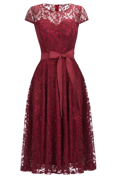 Burgundy Lace Short Sleeves A-line Dresses with Bow_1