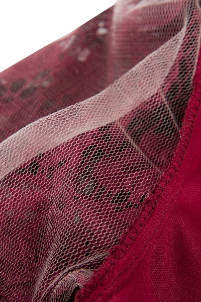 Burgundy Short Sleeves Flower Lace V-neck Dresses with Sash_4