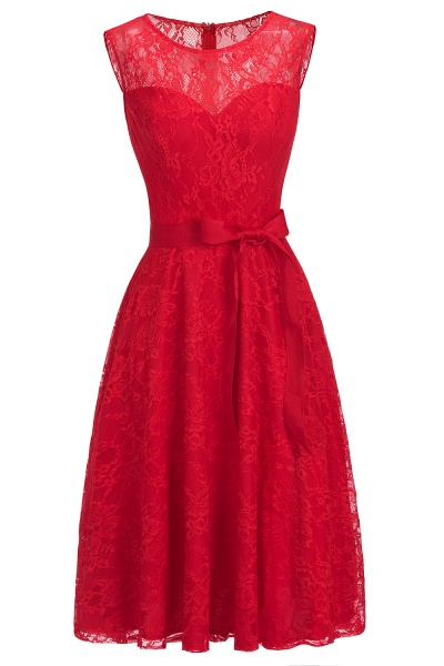 A-line Sleeveless Burgundy Lace Dresses with Bow_8
