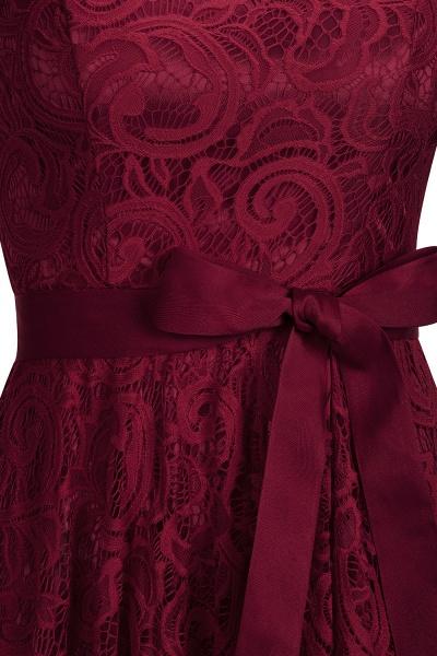 Elegant V-neck Short Sleeves Lace Dresses with Bow Sash_5