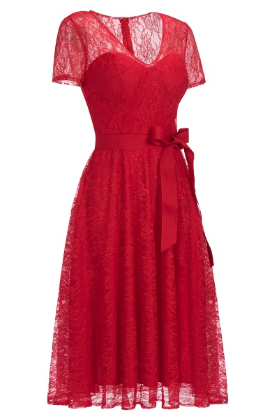 Short Sleeves V-neck Lace Dresses with Bow Sash_10