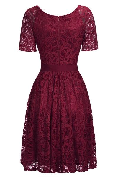 Elegant V-neck Short Sleeves Lace Dresses with Bow Sash_6