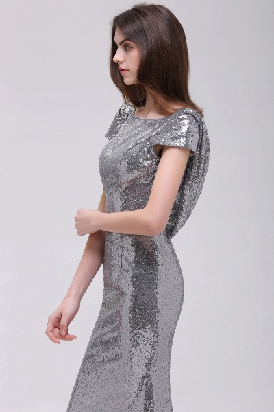 Mermaid Sparkly Sequins Scoop Short-Sleeves Floor-Length Bridesmaid Dresses_4