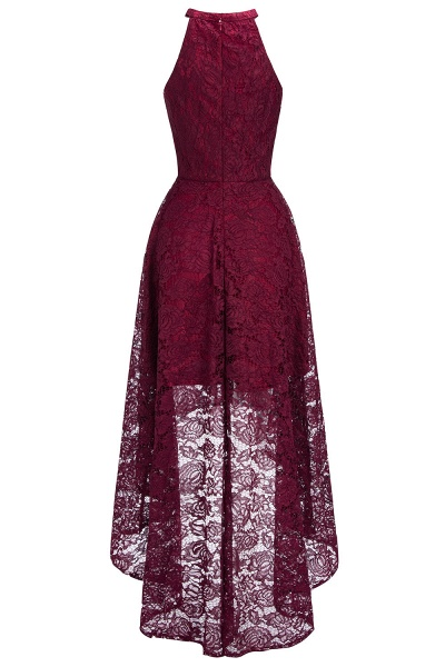Burgundy Halter Sleeveless Sheath Lace Dresses_6