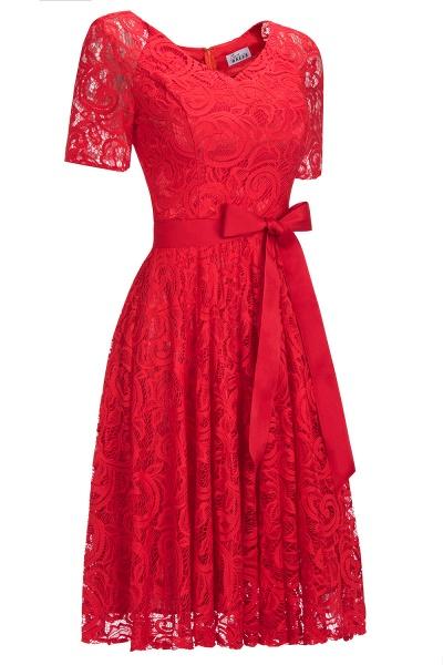 Elegant V-neck Short Sleeves Lace Dresses with Bow Sash_4