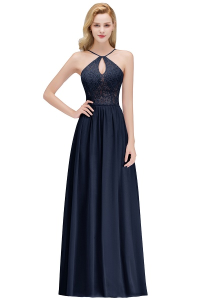 Keyhole Neckline Lace A-line Long Spaghetti Bridesmaid Dress_3