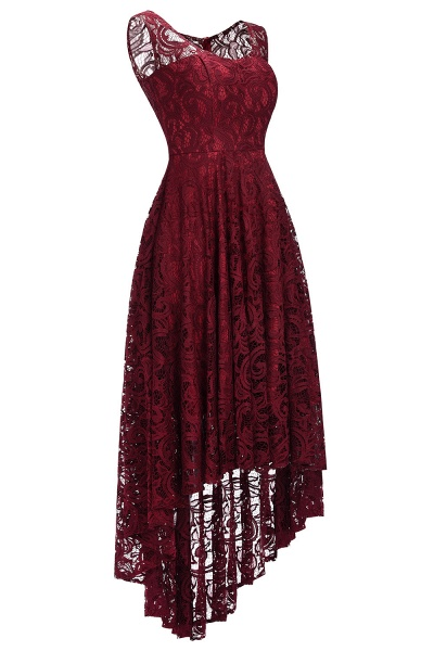 Elegant A-line Sleeveless Crew Hi-lo Lace Dress_11