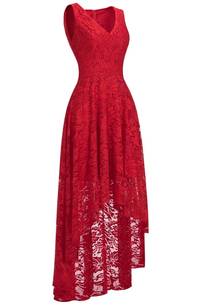 A-line V-neck Sleeveless Burgundy Hi-lo Lace Dresses_2